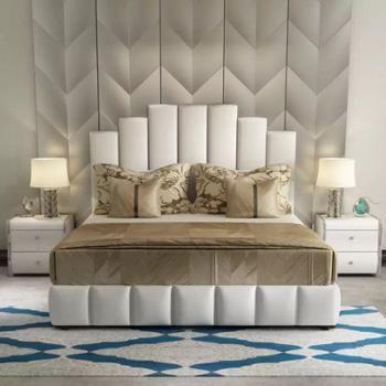 北欧床美式床主卧双人床1.8米现代简约软包床小户型布艺床婚床