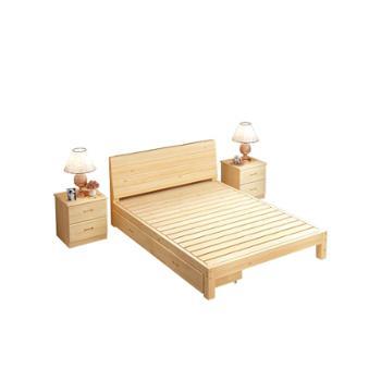 简约实木床1.8米主卧床现代双人床1.5米出租房床经济型简易单人床