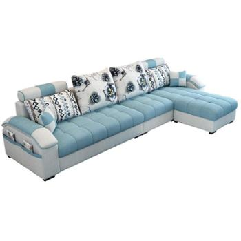 简约现代布艺沙发小户型组合客厅家具转角多色三人位布沙发可拆洗