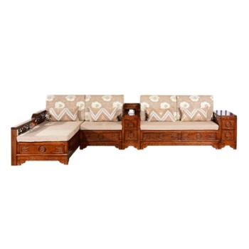 红橡木全实木沙发组合套装现代中式冬夏两用储物布艺整装客厅家具