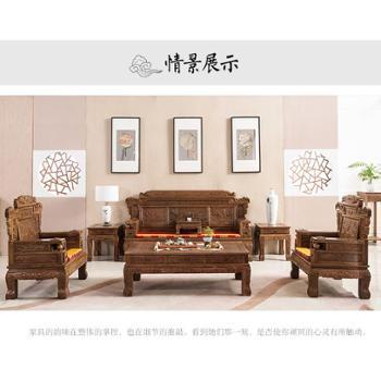 红木仿古全实木沙发组合客厅新中式鸡翅木沙发三人五件套家具整装