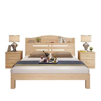 实木松木双人床1.8米简易带书架床现代主卧家具储物床
