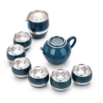 国礼瑞方源手工鎏银茶具 功夫茶具 鎏银茶具套组 礼盒包装