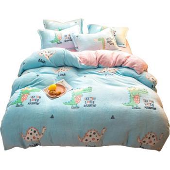 花蓉蓉珊瑚绒四件套冬季加厚雪花绒法兰绒被套床单卡通床上4套件