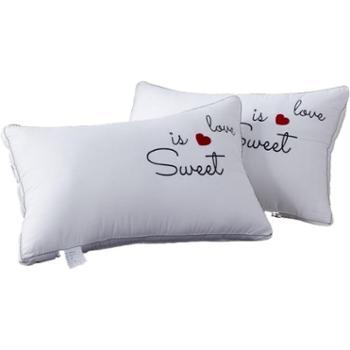 【一对装】花蓉蓉全棉枕头刺绣枕芯成人*酒店羽丝绒学生枕头可水洗枕芯