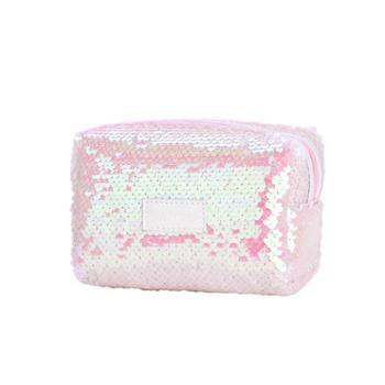 京东京造 时尚珠片桶型化妆包洗漱包女士大容量便携旅行收纳包