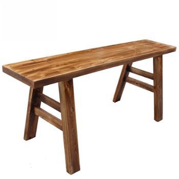 实木长条凳火锅现代简约长凳子柏木凳子板凳碳化火烧凳宽凳