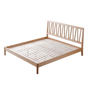 北欧实木床现代简约日式风格红橡木双人床1.8