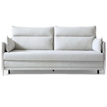 现代简约客厅两用小户型多功能可折叠布艺沙发浅灰色