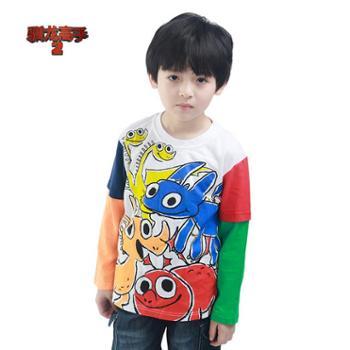 PuffyPuppyOAQZ01O07男童全棉Q版印花袖子拼色长袖T恤