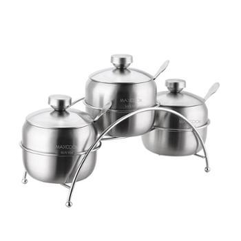美厨304不锈钢调料罐调味罐三件套带支架带调料勺带盖MCTY-3