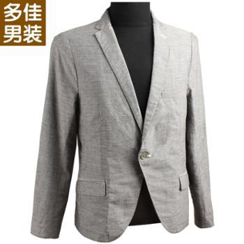 多佳男士时尚休闲男士修身西服薄款格子男式单西上衣307LD058