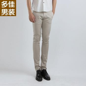 多佳夏款薄款裤子男士修身小脚铅笔裤韩版潮休闲男裤110003