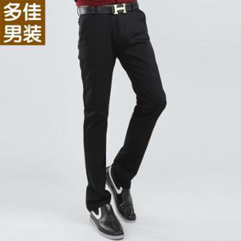 多佳春款休闲长裤时尚民族风黑色百搭厚款男士裤子110012