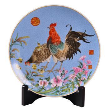 瓷博 鸡生肖摆件景德镇陶瓷 创意工艺品吉祥物礼品 瓷器家居客厅装饰盘摆设