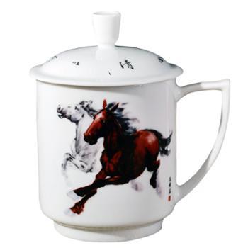 瓷博 景德镇陶瓷杯子瓷器泡茶杯带盖创意十二生肖鼠牛虎免龙蛇马羊猴鸡狗猪
