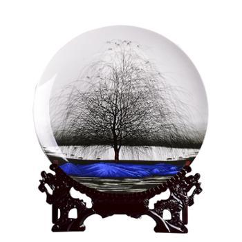 瓷博静夜思陶瓷摆件工艺品景德镇艺术玄关装饰品瓷盘直径约31厘米
