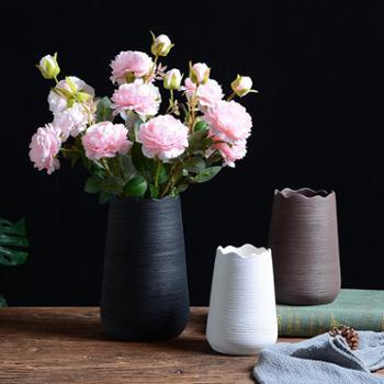 北欧素烧拉丝陶瓷花瓶摆件密纹波浪口大号简约日系插干花花器客厅装饰