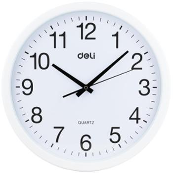 deli得力挂钟钟表9006白色边框直径Φ37cm家用餐厅客厅教室办公室会议室使用