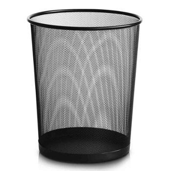 得力(deli)φ29.5cm大号金属网状圆纸篓办公家用垃圾桶垃圾分类办公用品黑色9189