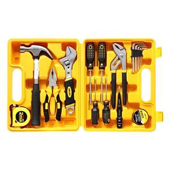 deli得力工具套装五金工具箱套装16件3701
