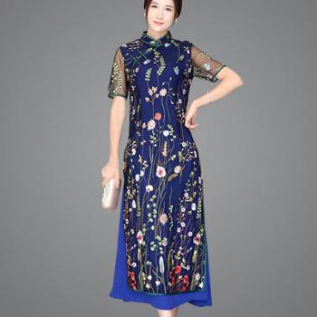 翠啼鸟绣花裙日常礼服蕾丝女复古中长款时尚旗袍QP031