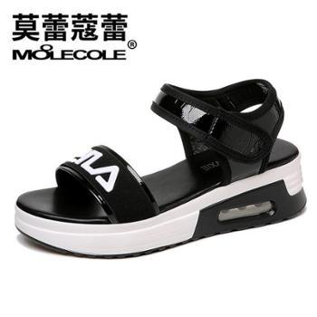 莫蕾蔻蕾夏季凉鞋松糕跟百搭罗马气垫沙滩鞋女鞋8281