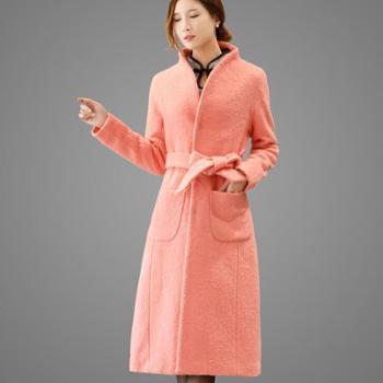 翠啼鸟 新款毛呢外套女长款大码加厚配腰带修身收腰呢子大衣 DY020