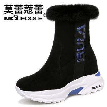 莫蕾蔻蕾 秋冬款韩版加绒女靴兔毛袜子女短靴 8429