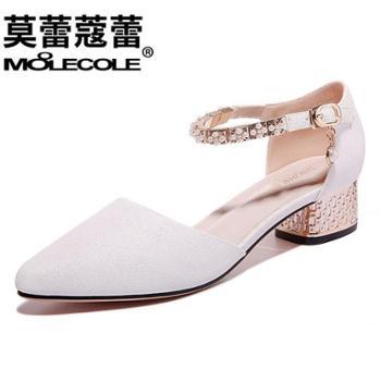 莫蕾蔻蕾新款时尚韩版中跟尖头浅口单鞋女鞋70065