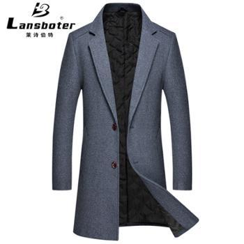 莱诗伯特毛呢大衣修身中长款羊毛风衣加棉羊毛呢大衣男装外套9905