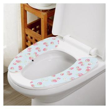 欧润哲4对装创意粘贴式可水洗蓝底红莓马桶垫易拆易洗质地柔软厕所垫