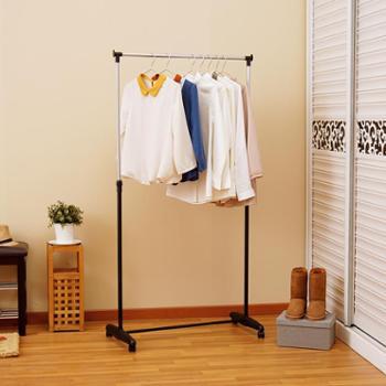 欧润哲单杆伸缩晾衣架落地室内简易挂衣架子家用升降晒衣架