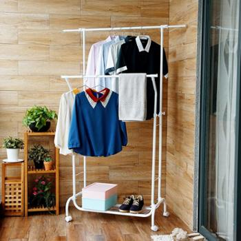 欧润哲白色室内晾衣架落地双杆式加厚晒衣架简易升降挂衣架鞋架