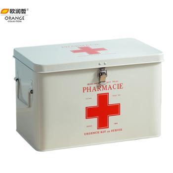 欧润哲大码金属带锁急救箱家庭大号家用医药箱多层药盒药品收纳箱