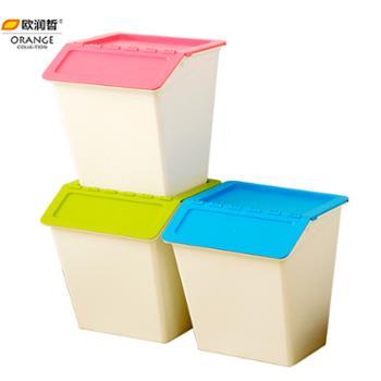 欧润哲3只装台湾制38公升可叠加塑料收纳箱儿童玩具整理箱