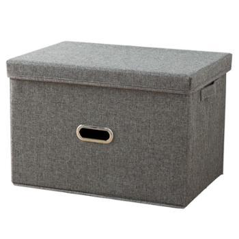 艾多大号布艺可折叠棉麻收纳整理箱1只装