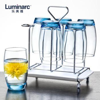 乐美雅萨通凝彩玻璃杯350ml6只装+沥水架