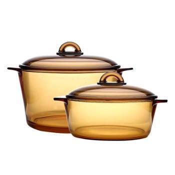 乐美雅玻璃锅琥珀锅汤锅炖锅光面锅组套装2L+3L