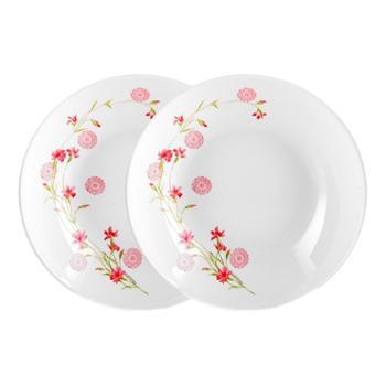 乐美雅法国进口迪瓦丽罗曼红欧珀钢化玻璃餐具-8寸深盘(2个装)