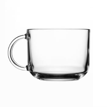 乐美雅钢化玻璃罗凯把杯奶杯500ml(2只装赠送勺子)