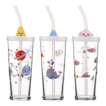 乐美雅纳钙玻璃里尔425ml刻度吸管杯3件套(云朵款+蓝鲸款+火箭款)