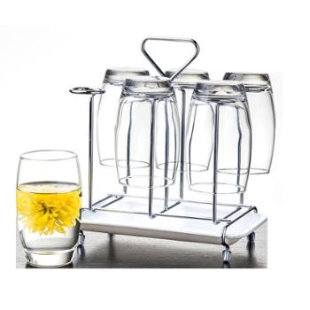 乐美雅萨通透明凝彩玻璃杯350ml(6只装)+沥水架