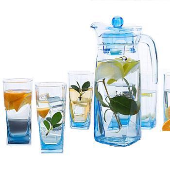 乐美雅棱镜壶冰蓝款水具7件套(1壶+6杯)