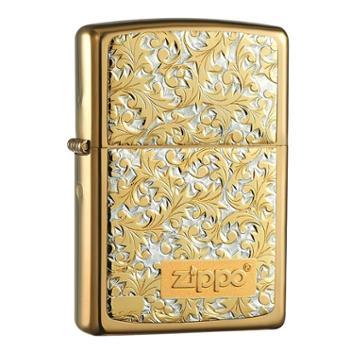 【德百】Zippo打火机k-8富贵花唐草24K镀金镀钛机壳男士礼物