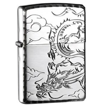 【德百】zippo打火机防风磨边双面雕刻银龙出云