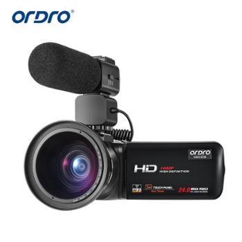 欧达/Ordro 摄像机高清1080P数码摄影视频DV可接麦克风广角镜旅游拍 HDV-Z20