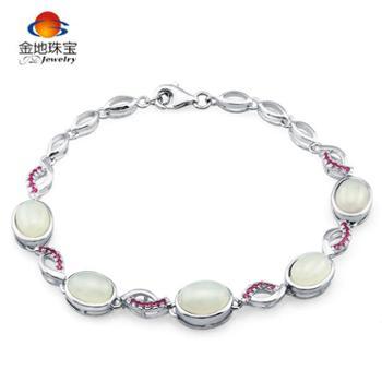 金地珠宝925银镶和田白玉鱼形圆玉手链