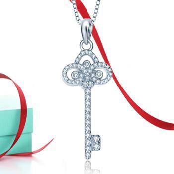 钻金森925纯银奢华皇冠钥匙KEY项链