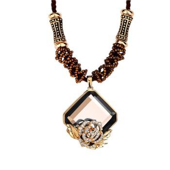 钻金森宫廷风复古时尚水晶麻绳毛衣链长项链